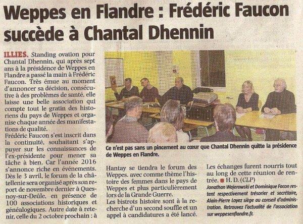 La revue de presse d'Alain-Pierre Loyez : l'assemblée générale de Weppes en Flandre (source La Voix du Nord)