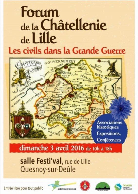 Forum de la châtellenie de Lille ce dimanche 3 avril à Quesnoy-sur-Deûle : demandez le programme !