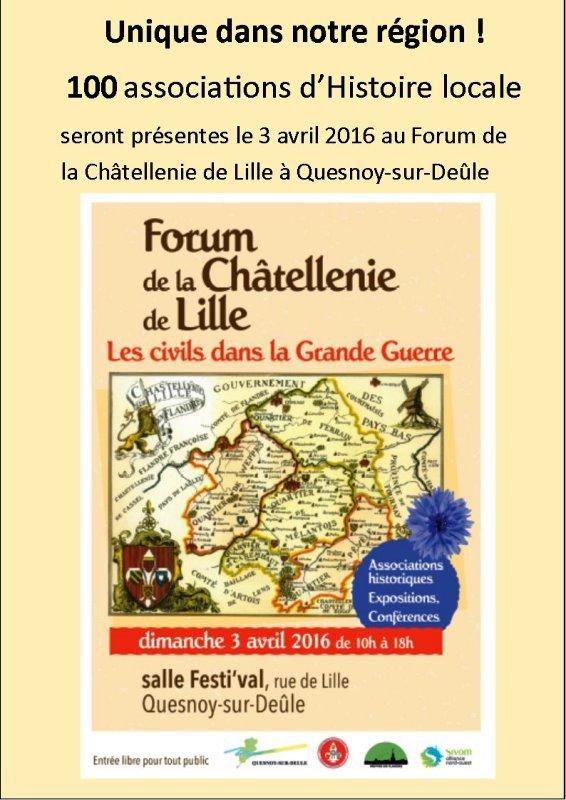 Le forum de la châtellenie de Lille c'est demain dimanche à Quesnoy-sur-Deûle et notre ami Bernard Smagge de la Société historique de Phalempin a relooké notre affiche.