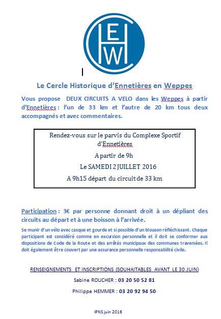 Le pays de Weppes à bicyclette avec le Cercle historique d'Ennetières-en-Weppes