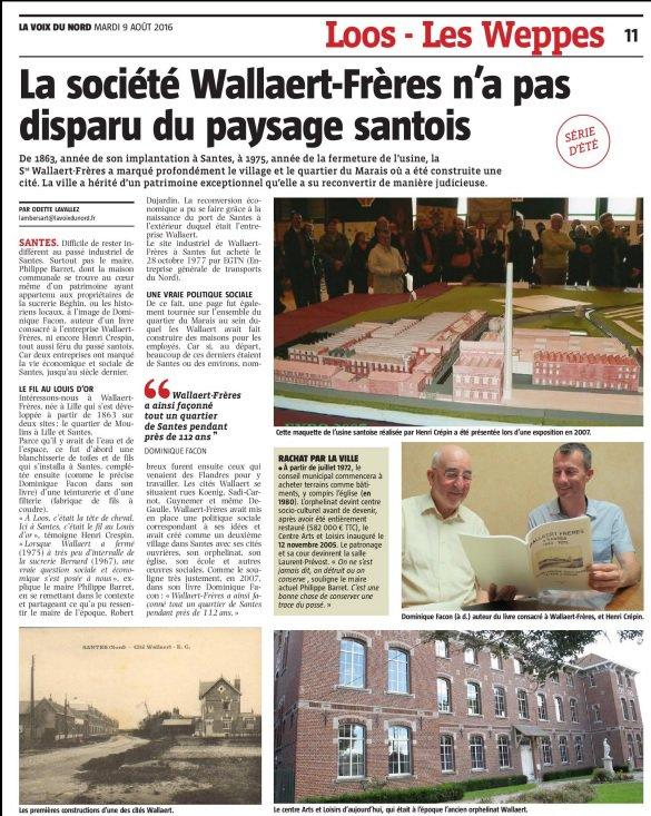 La société Wallaert Frères au menu de la revue de presse d'Alain-Pierre Loyez (source La Voix du Nord)