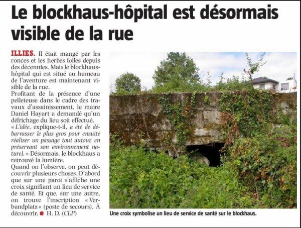 La revue de presse estivale d'Alain-Pierre Loyez : le blockhaus-hôpital d'Illies (source La Voix du Nord)