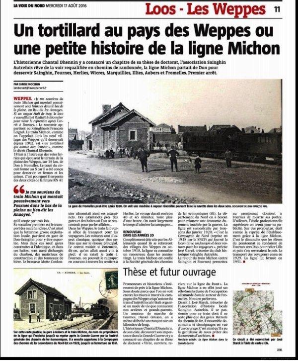 Le train Michon dans la revue de presse d'Alain-Pierre Loyez (source La Voix du Nord)
