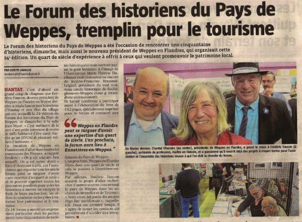 Le Forum des Weppes à Hantay dans la revue de presse d'Alain-pierre Loyez (source La Voix du Nord)