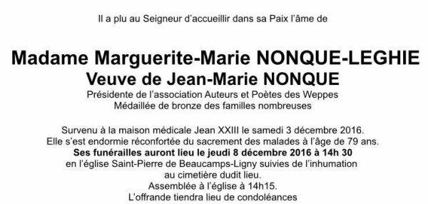 Marguerite Nonque nous a quittés