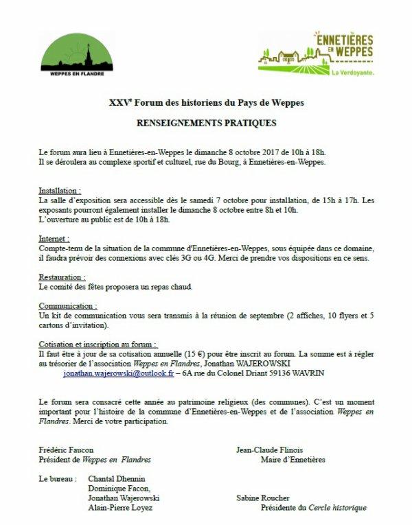 Forum des Weppes 2017 à Ennetières-en-Weppes : les inscriptions sont lancées !