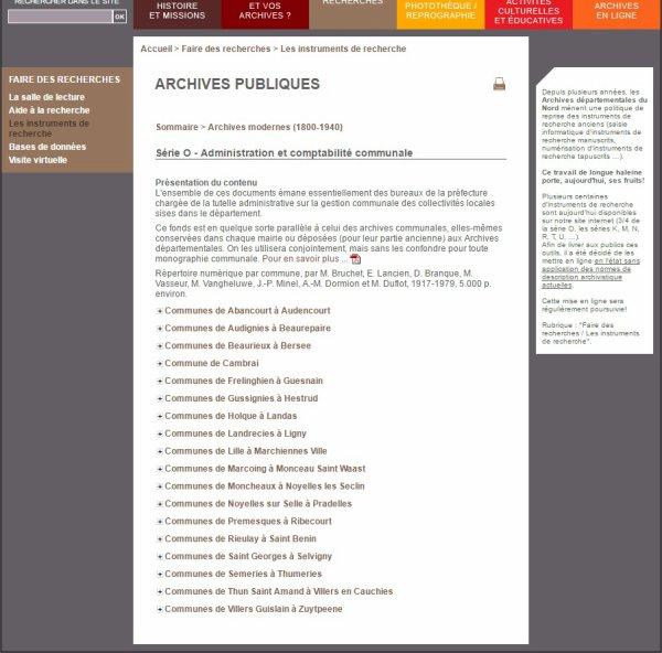 Des nouveautés sur le site internet des Archives départementales du Nord