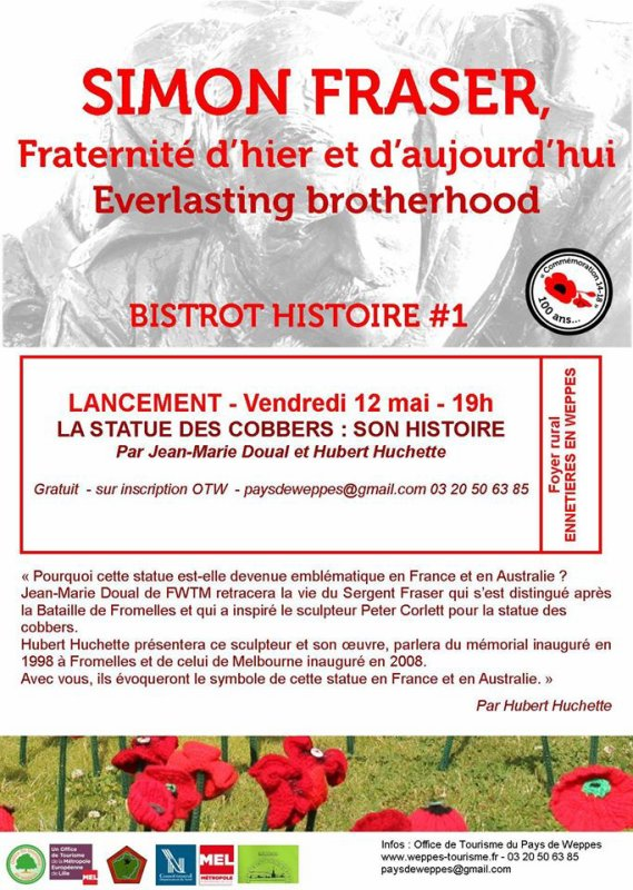 Tout savoir sur la statue des Cobbers à Fromelles, c'est vendredi 12 mai à 19 heures à Ennetières-en-Weppes