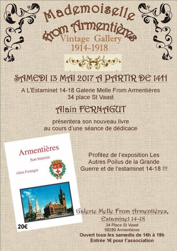 Ce samedi 13 mai, Alain Fernagut dédicace son livre sur l'histoire d'Armentières chez la Mademoiselle from Armentières