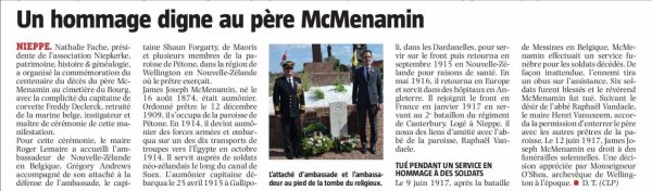 La commune de Nieppe a rendu hommage au père Mcnamin (source La Voix du Nord)