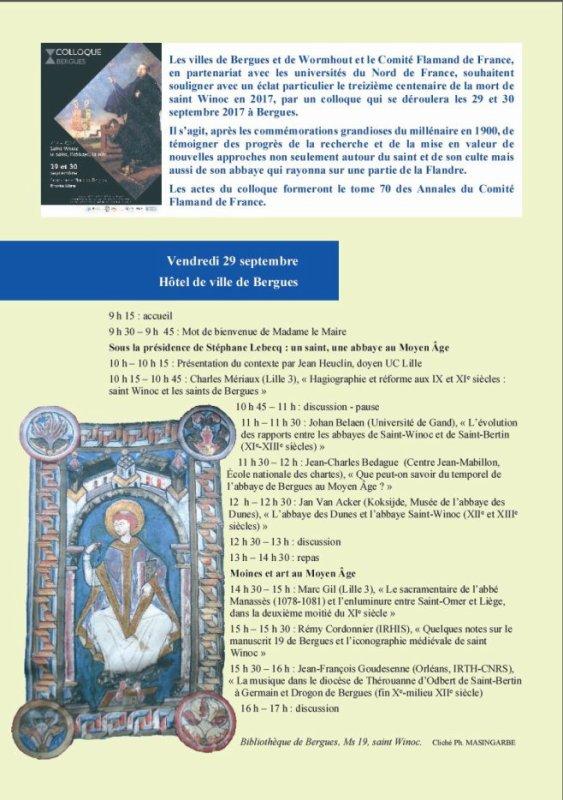N'oubliez pas, fin septembre, le colloque consacré à saint Winoc !