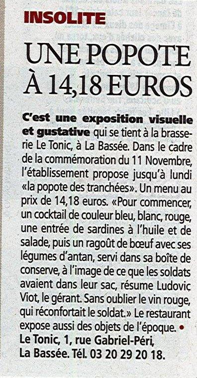 Le 11 novembre dans le pays de Weppes et à La Bassée (source Cnewsmatin de ce vendredi)