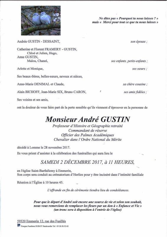 Notre ami André Gustin, du Centre de Mémoire de l'Abbaye Prison de Loos, nous a quittés.