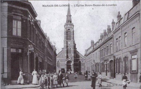 La construction de l'église du Marais de Lomme