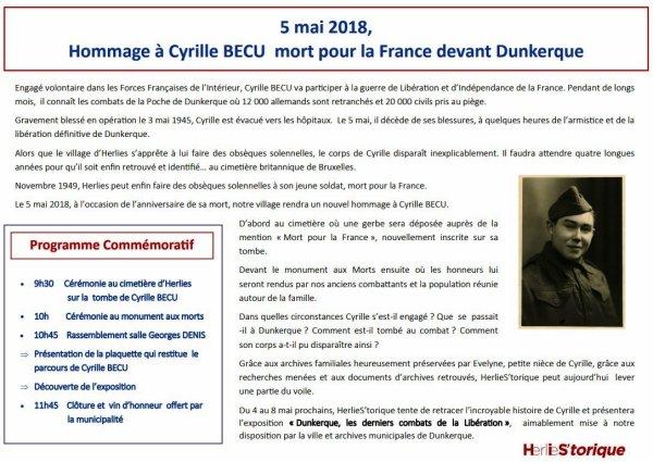 Le 5 mai 1945, Cyrille Becu, natif d'Herlies, tombe pour la libération de Dunkerque