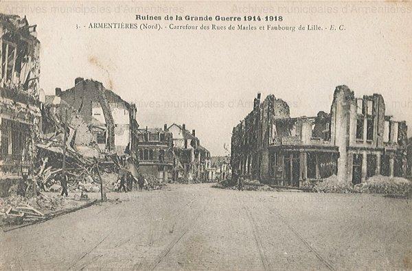 Armentières à la fin de la Première Guerre mondiale