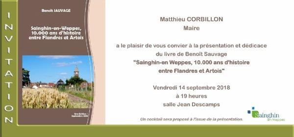 Le livre de Benoît Sauvage sur l'histoire de Sainghin-en-Weppes sera disponible pendant les journées du Patrimoine
