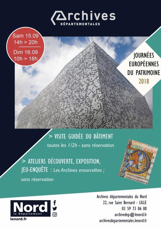 Les Journées européennes du Patrimoine 2018 aux Archives départementales du Nord
