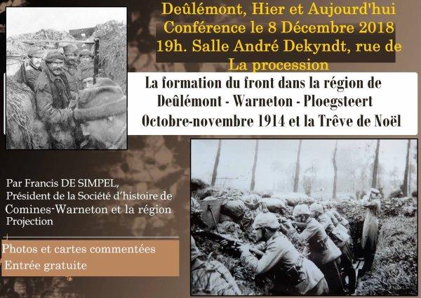 La prochaine conférence de la Société d'Histoire de Comines Warneton et de sa Région aura lieu à Deûlémont