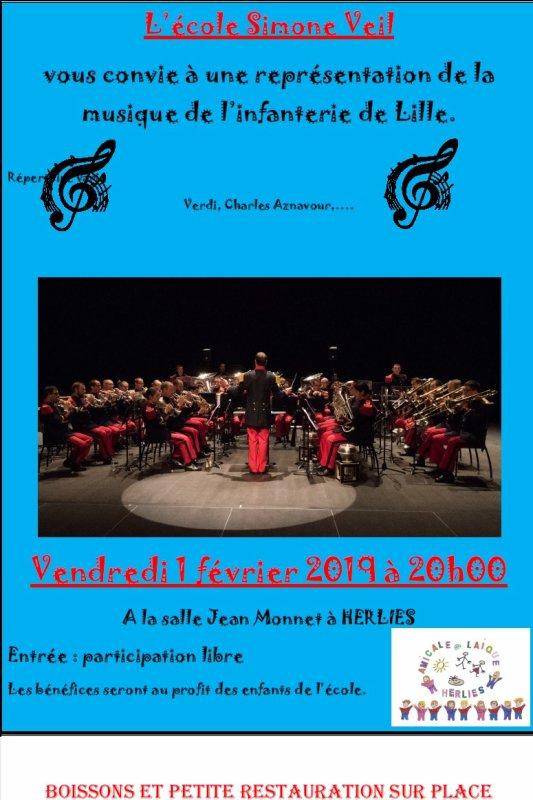 Le vendredi 1er février, la musique du 43ème R. I. de Lille sera à Herlies