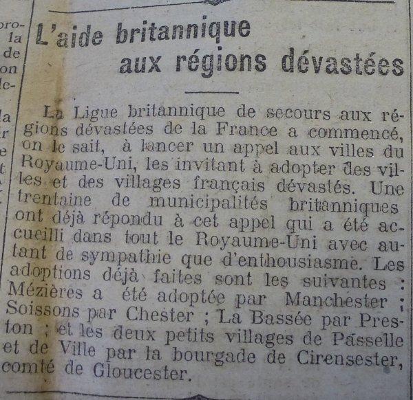Après la Première Guerre mondiale, l'aide britannique aux régions dévastées