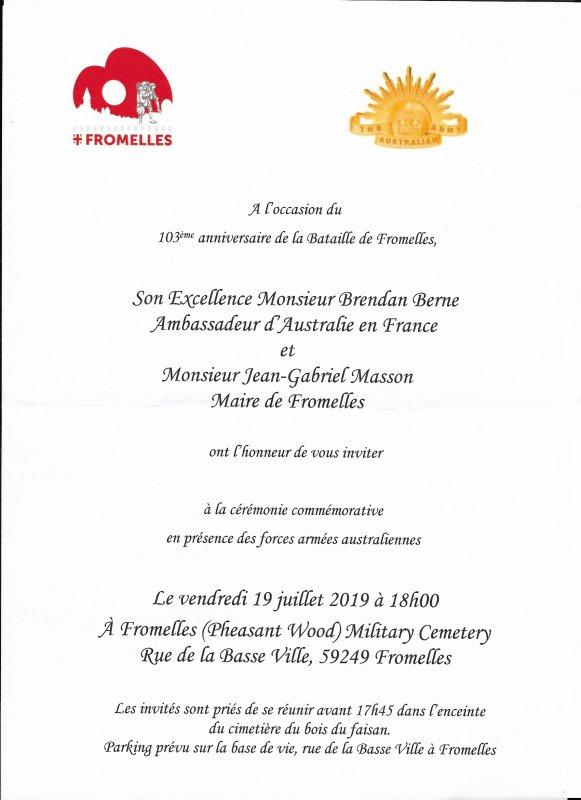Le 103ème anniversaire de la bataille de Fromelles