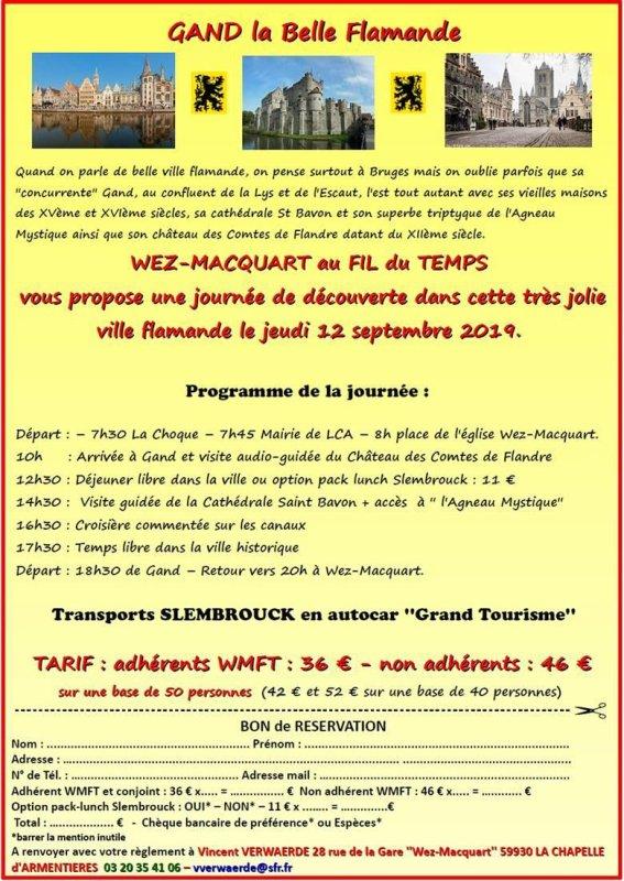 Wez-Macquart au Fil du Temps se propose de vous emmener à Gand le 12 septembre