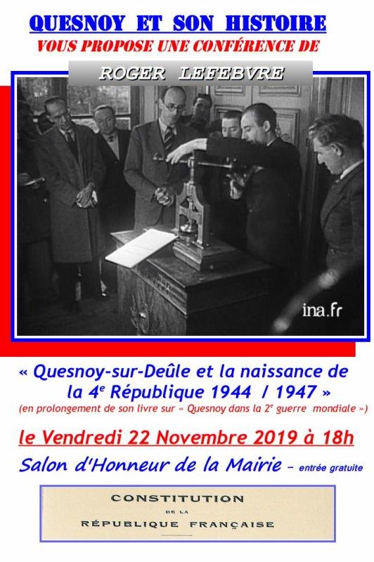 Quesnoy-sur-Deûle et la naissance de la IVème République (1944-1947)