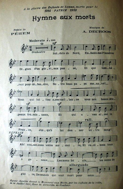 Hymne aux soldats lommois morts pendant la Grande Guerre