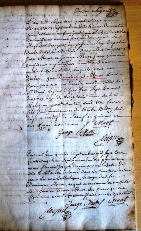 Dominique Muot, protestant de Lille, est décédé à Saint-Omer en 1788