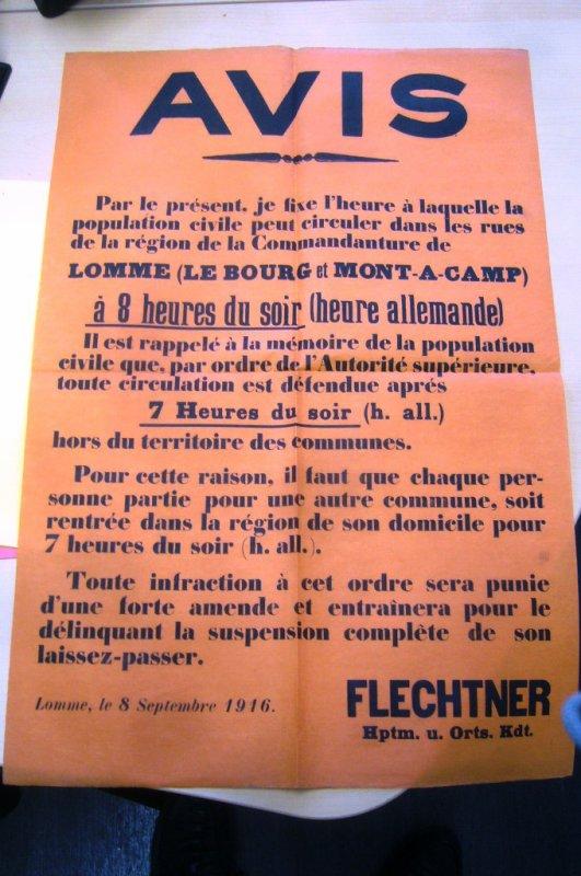 Confinement et couvre-feu à Lomme pendant la Première Guerre mondiale