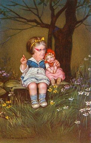 hihi la mémère s'occupe  bien de sa poupée