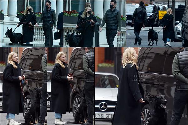 04/05/21 : C'est en compagnie d'un mystérieux inconnu que notre Chloë se promenait dans les rues de Londres. Elle est en Angleterre pour le tournage d'un nouveau film ! On voit peu sa tenue à cause du manteau, mais le chien est vraiment beau ![/font=Arial]