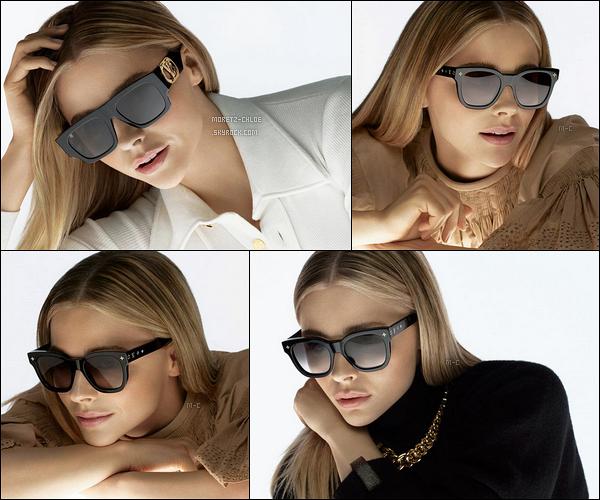 Chloë a réalisé un shoot pour la collection de lunettes de la marque Louis Vuitton. Les clichés sont vraiment très jolis et mettent vraiment bien l'actrice en valeur. Les lunettes de soleil sont assez spéciales car on dirait des lunettes 3D.