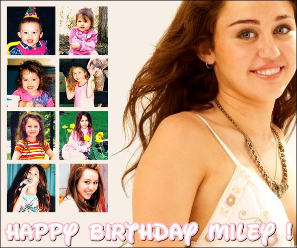 HAPPY BIRTHDAY MILEY CYRUS ! Eh oui, en ce 23 novembre Miss Cyrus fête ses 18 ans ! Notre Miley a bien grandit depuis qu'elle est toute petite. Espérons qu'elle réussisse encore longtemps dans le domaine du cinéma et de la musique. Je lui souhaite pleins de bonheurs pour son 18éme anniversaire ! Encore une fois HAPPY BIRTHDAY MILEY !  Alors on lui dis quoi pour ses 18 ans ?