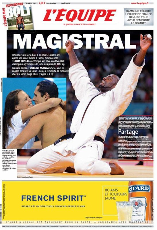 Jeux Olympiques, 7ème jour : Riner et Manaudou au sommet !