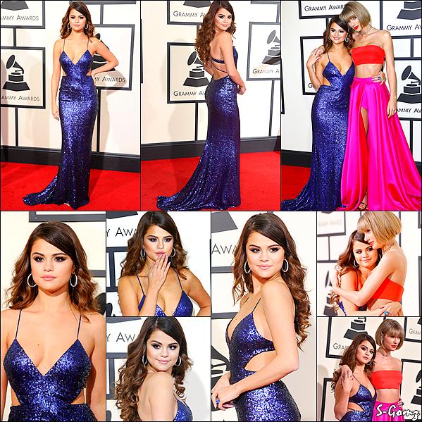 15.02.16 - Selena s'est rendu à la cérémonie du 58ème Grammy Awards avec sa BF Taylor Swift à Los Angeles.