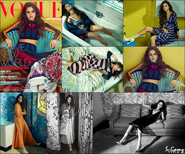 Selena fait la couverture du Magazine Vogue en Australie pour le mois de Septembre 2016.