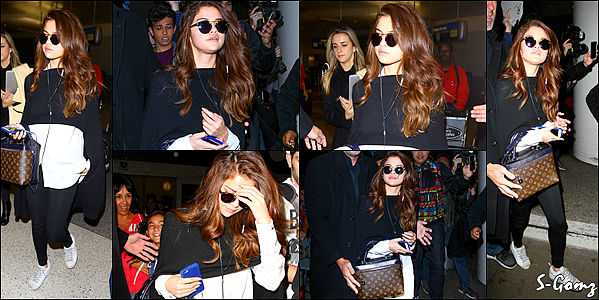 11.03.16 - Selena a été photographiée arrivant à l'aéroport de LAX à Los Angeles.