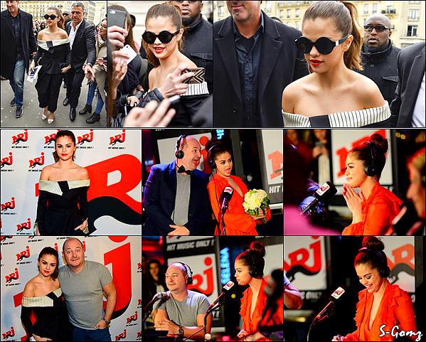 10.03.16 - Selena arrivant puis quittant les studios de Virgin Radio et participant à l'émission C à Vous à Paris.