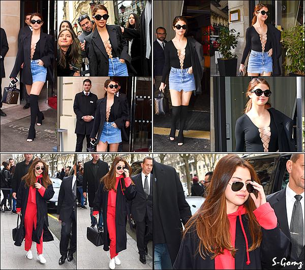 08.03.16 - Le soir, Selena a été photographiée quittant puis, plus tard arrivant à son hôtel à Paris.