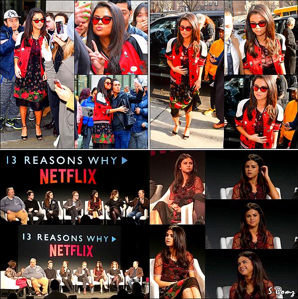 08.02.17 - Selena a été photographiée quittant son hôtel. Puis, elle arrive à une conférence de presse à NY. Selena avec sa mère & toute l'équipe de production de la série 13 Reasons Why ont donnés une conférence de presse pour Netflix.