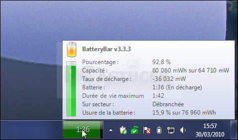 Afficher l'état précis de la batterie - Windows 7