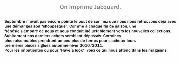 Le Jacquard s'invite dans notre dressing.