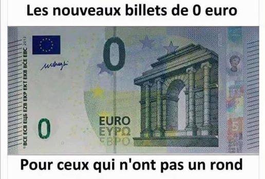 702 Billet euro, zéro euro.