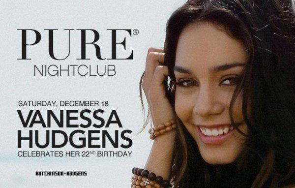 Heey coucou ! Comme vous le savez, Vanessa fêtera ses 22 ans le 14 Décembre prochain. Pour l'occasion, elle se rendra à Las Vegas où elle célébrera l'évènement entourée de ses amis... et de ses fans ! En effet, la fête se déroulera dans la boite de nuit Pure Nightclub de Las Vegas le samedi 18 décembre 2010 et sera ouverte au public, qui pourra prendre part à la fête et fêter l'anniversaire de Vanessa avec Vanessa en personne. Quels chanceux ces américains