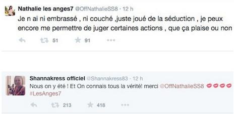 ANGES 7 - Nathalie se fait lyncher sur Twitter après avoir balancé sur Jessica