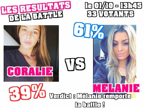 """Secret Story 9 - Découvrez les résultats de la battle """"CORALIE / MELANIE : Qui est la plus vraie ?"""""""