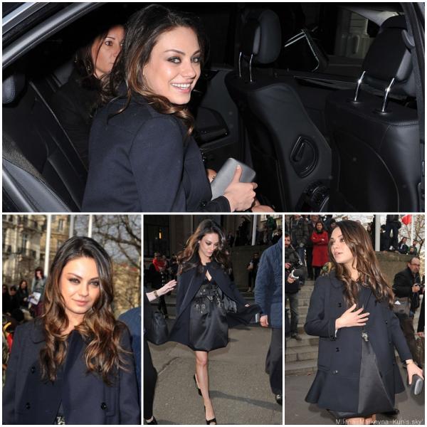 9/03/11 - Mila était (est) à Paris pour la fashion week. Elle a assistée au défilé Miu Miu qui s'est déroulé cet après-midi au palais d'Iena .    Gros gros TOP pour l'actrice qui est juste splendide de la tête au pieds♥