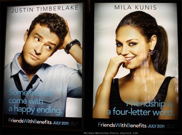 """01/05/11 - Mila, s'accordant une pose clope lors du tournage de son nouveau film: """"Ted"""".  .   + Posters officiels du film Sex with benefit."""